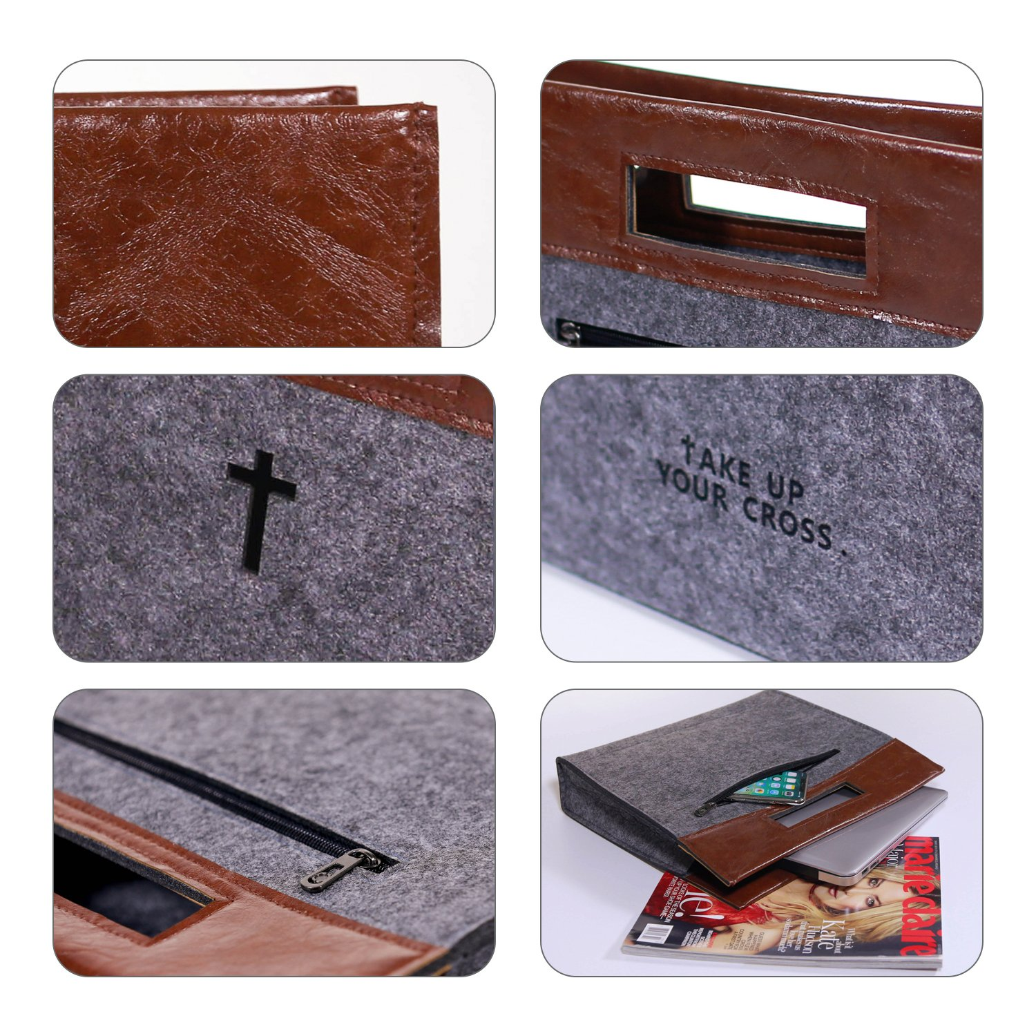 Bible Carrying Case Felt Bible Cover for Men Church Tote Bag with Zipper Roomy Bible Study Case, Christian Gift for Week Deals by GODPASS (Image #4)
