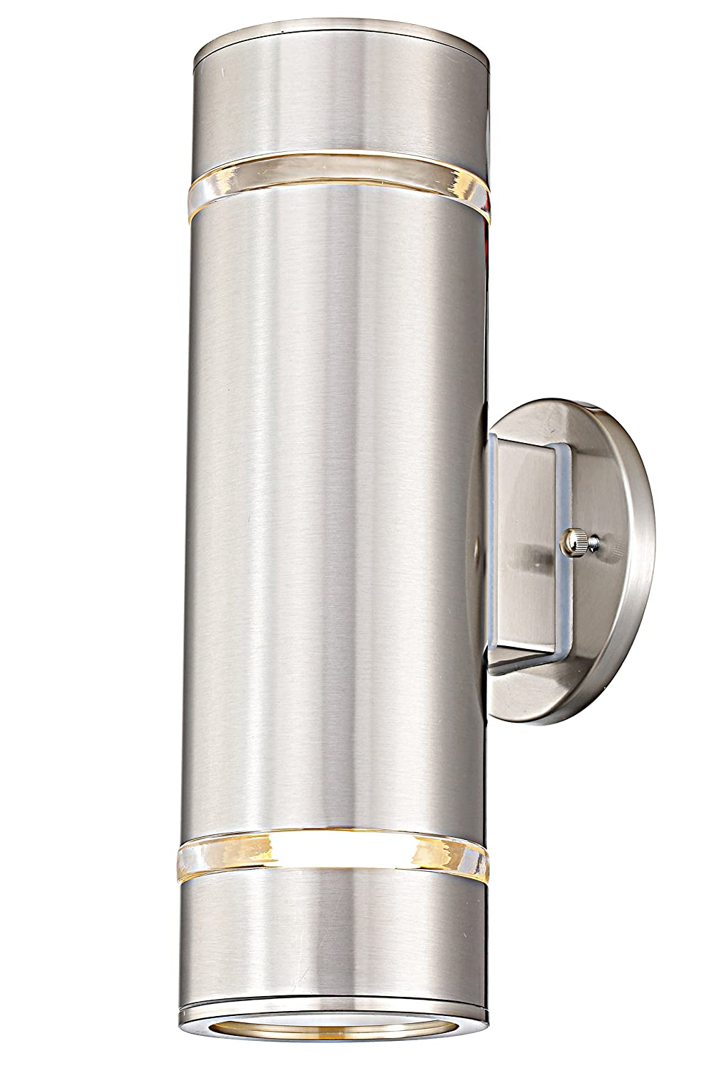 Cerdeco Aureole-Series Modern Porch Light [ UL-Listed ] Stainless Steel Satin Nickel Finished Outdoor Wall Lamp Weather-Proof Cylinder Wall Sconce Suitable for Garden & Patio