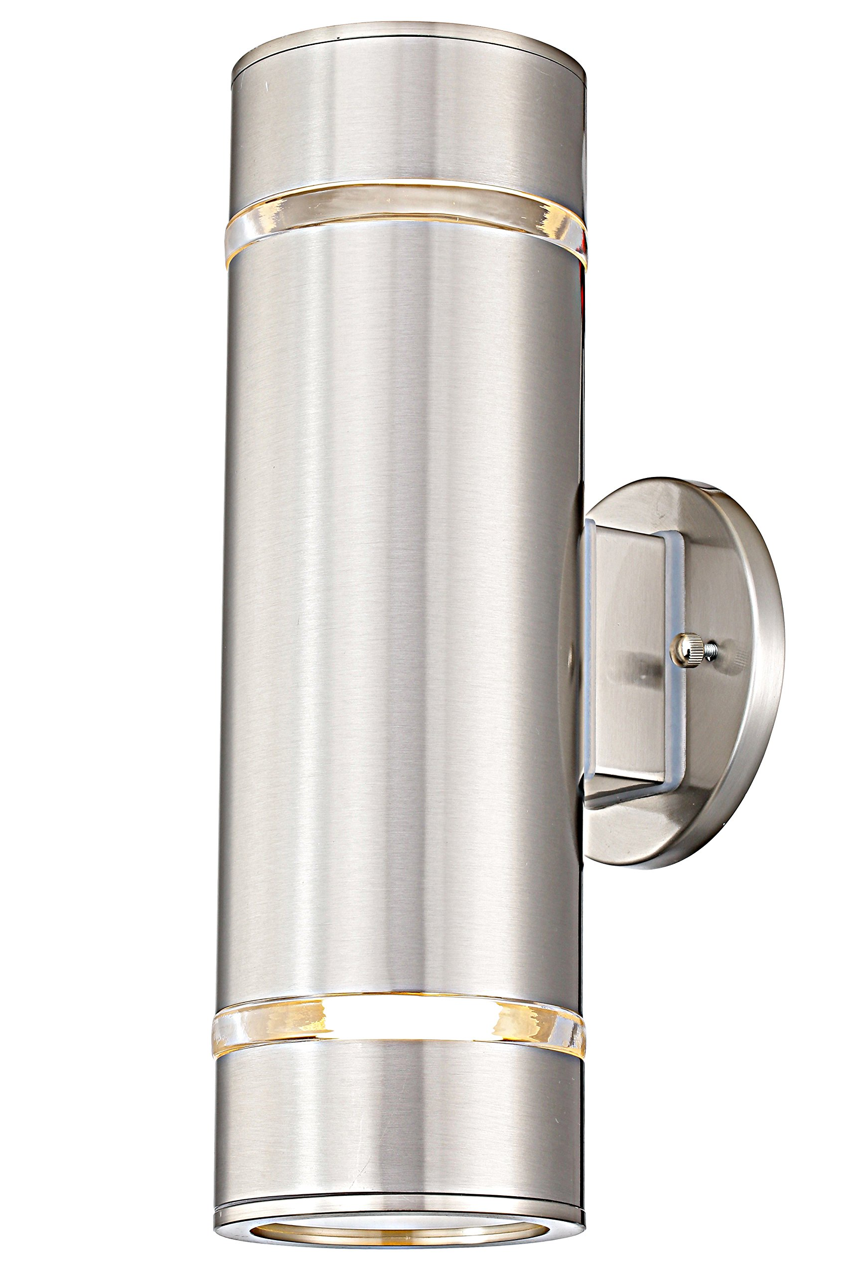 "Cerdeco WS-7698 Modern Porch Light [ UL-Listed ] Satin Nickel Finished Outdoor Wall Lamp Weather-Proof Cylinder Wall Sconce Suitable for Garden & Patio - ◆ Cerdeco contemporary streamlined design. Made of superior stainless steel & satin nickel finished. ◆ Weather proof & rust resistant (IP 64). Adapt to kinds of general weather conditions. ◆ Hard-Wired. 100v-220v available. Size: D:4"" x H:12.6"". Use 2*E26/E27 bulbs (Not Included). - patio, outdoor-lights, outdoor-decor - 81CwGtDa1GL -"