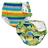i play. 2-PK Absorbent Boys Reusable Baby Swim Diapers Stripe and Sealife 6 Month