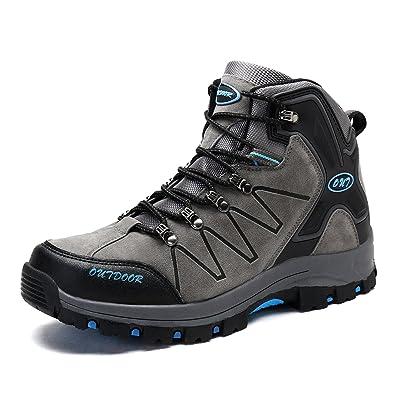 Men's Mid Trekking Hiking Boots Outdoor Lightweight Hiker Grey