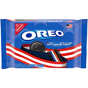 Oreo Team USA Chocolate Sandwich Cookies with Popping Candy Creme, Limited Edition, 13.2 oz, 1Count