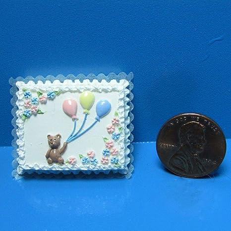 Dollhouse Miniature Baby Shower Cake with Teddy Bear /& Balloons ~ A1723