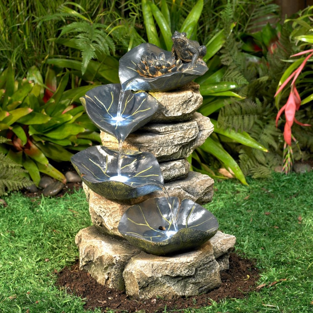 Amazon frog and four lily pad led lighted 21 high outdoor amazon frog and four lily pad led lighted 21 high outdoor fountain free standing garden fountains garden outdoor mozeypictures Choice Image