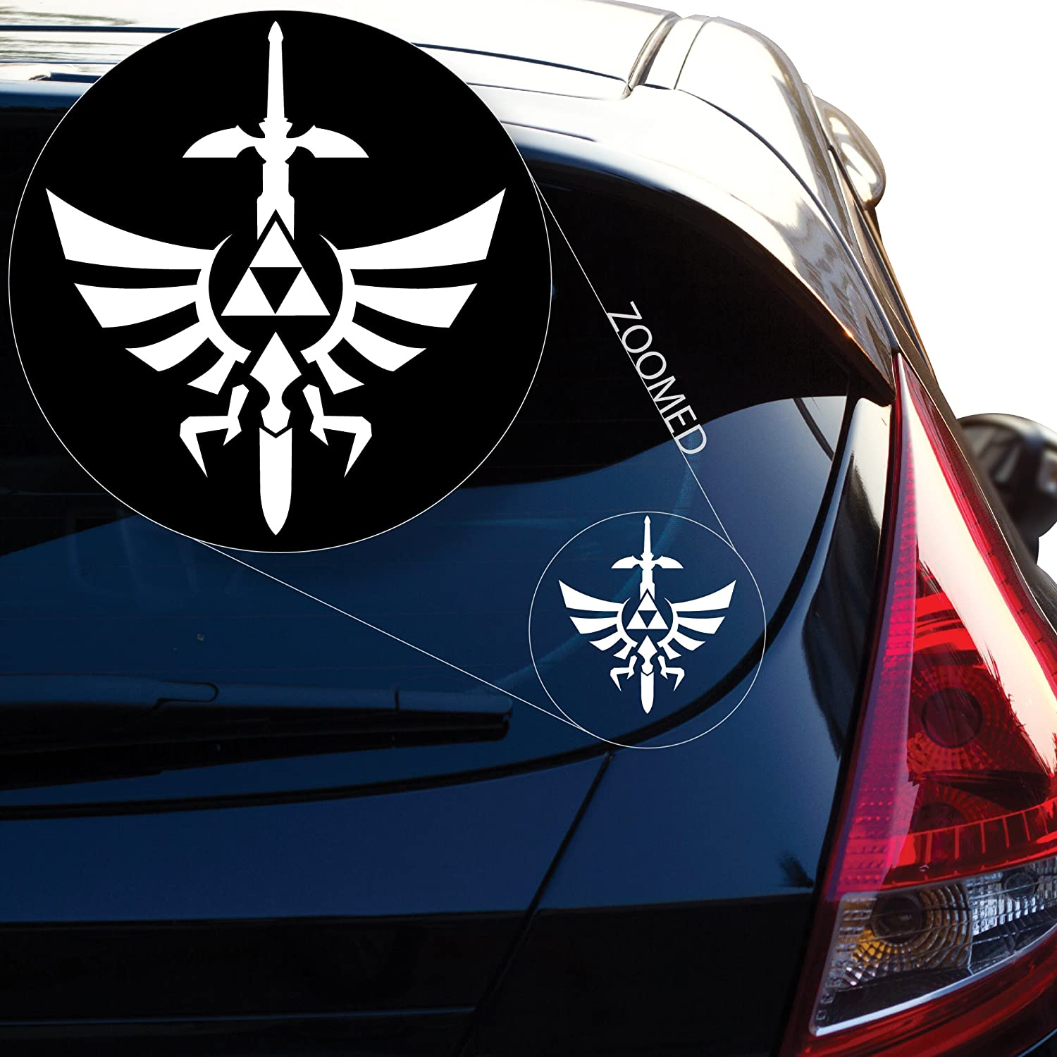 """Yoonek Graphics Zelda Triforce with Sword Decal Sticker for Car Window, Laptop, Motorcycle, Walls, Mirror and More. # 554 (4"""" x 3.6"""", White)"""
