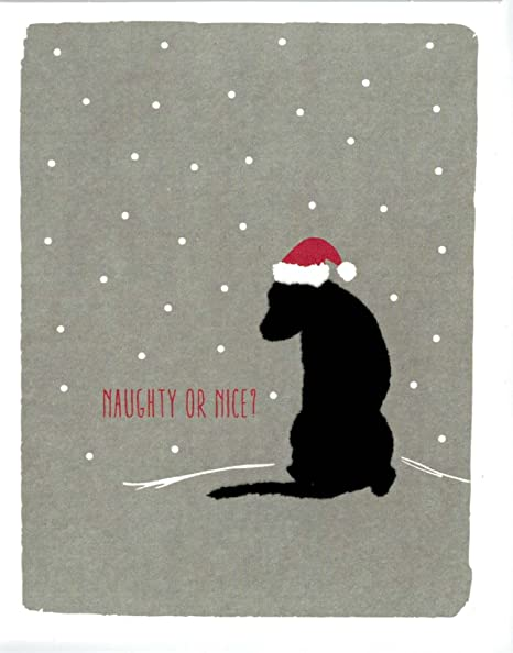 black lab holiday cards naughty or nice box of 15 cards envelopes - Naughty Or Nice Christmas Card