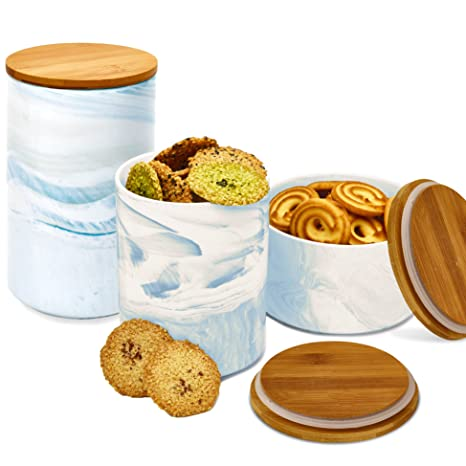 3pc Porcelain Kitchen Canister Set With Bamboo Lids   Sky Blue Marble  Containers With Airtight Seal