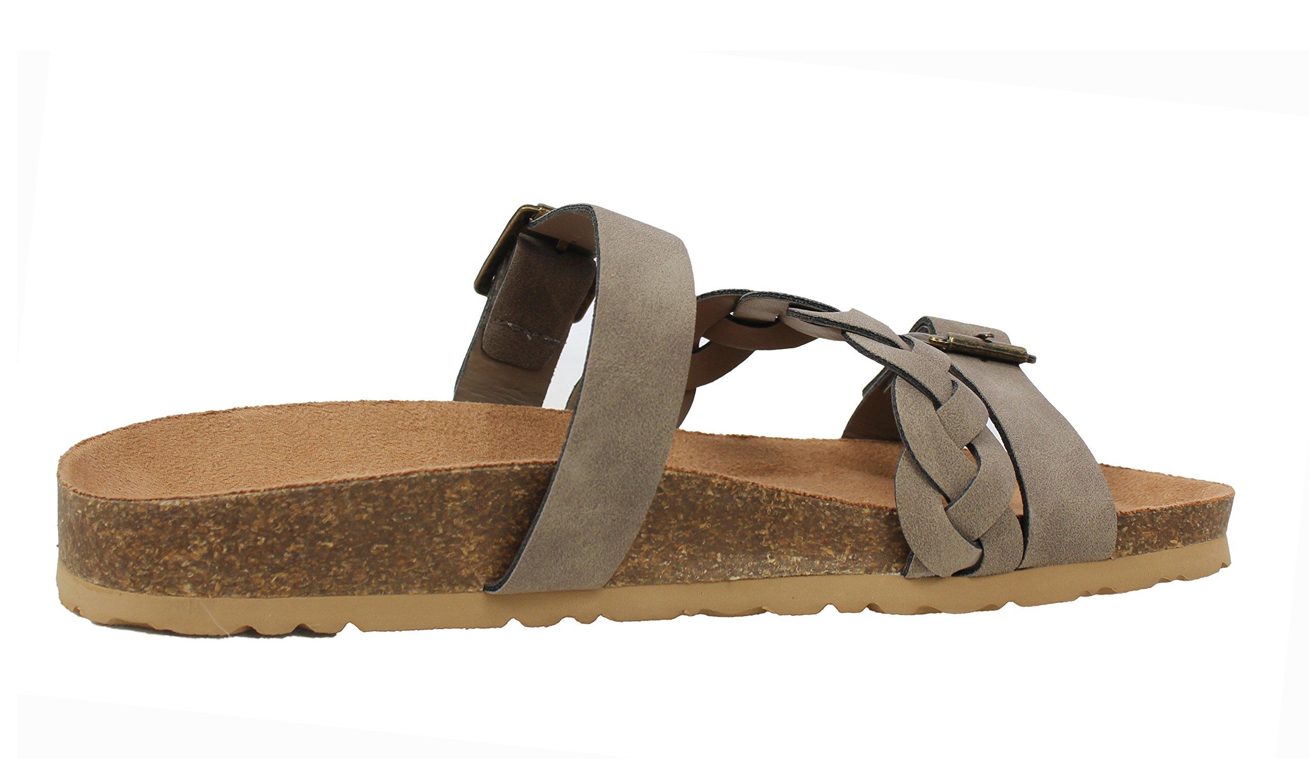 Soda Women's Buckle Strap Braided Cork Platform Slip On Sandal, Taupe, 85 M US by Soda (Image #4)
