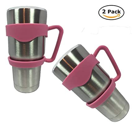 Tumbler Handle 30 oz Anti-Slip for Yeti Rambler, RTIC, SIC and more Black,  Pink, Red, Navy Blue Travel Mugs By Find it at the Bay (x2 Pink)