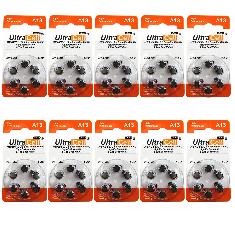 Hearing Aid Zinc Air Batteries A13 Size: 13 (60 Batteries)