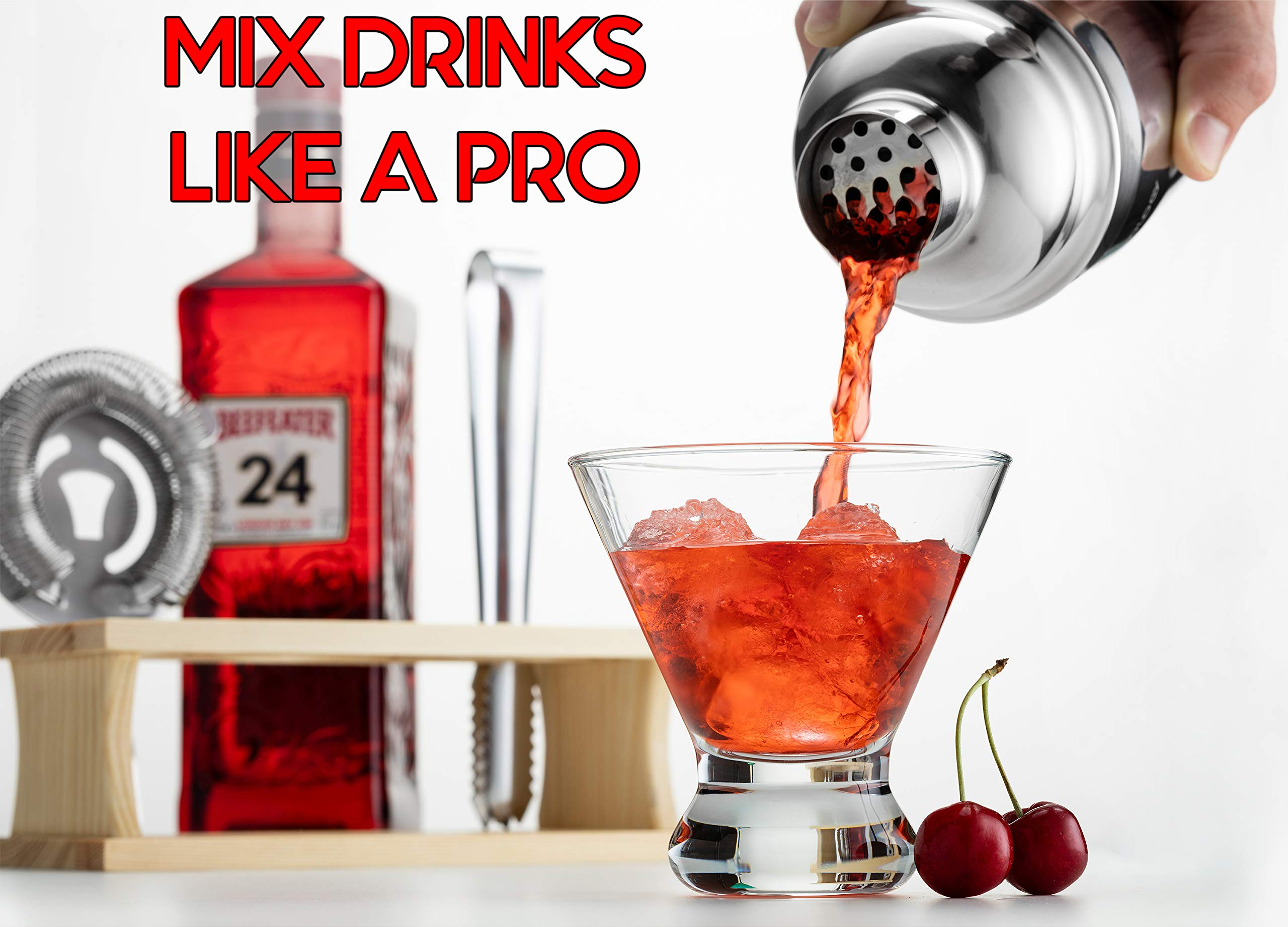 Mixology Bartender Kit with Stand | Bar Set Cocktail Shaker Set for Drink Mixing - Bar Tools: Martini Shaker, Jigger, Strainer, Bar Mixer Spoon, Tongs, Bottle Opener | Best Bartender Kit for Beginners by Modern Mixology (Image #3)