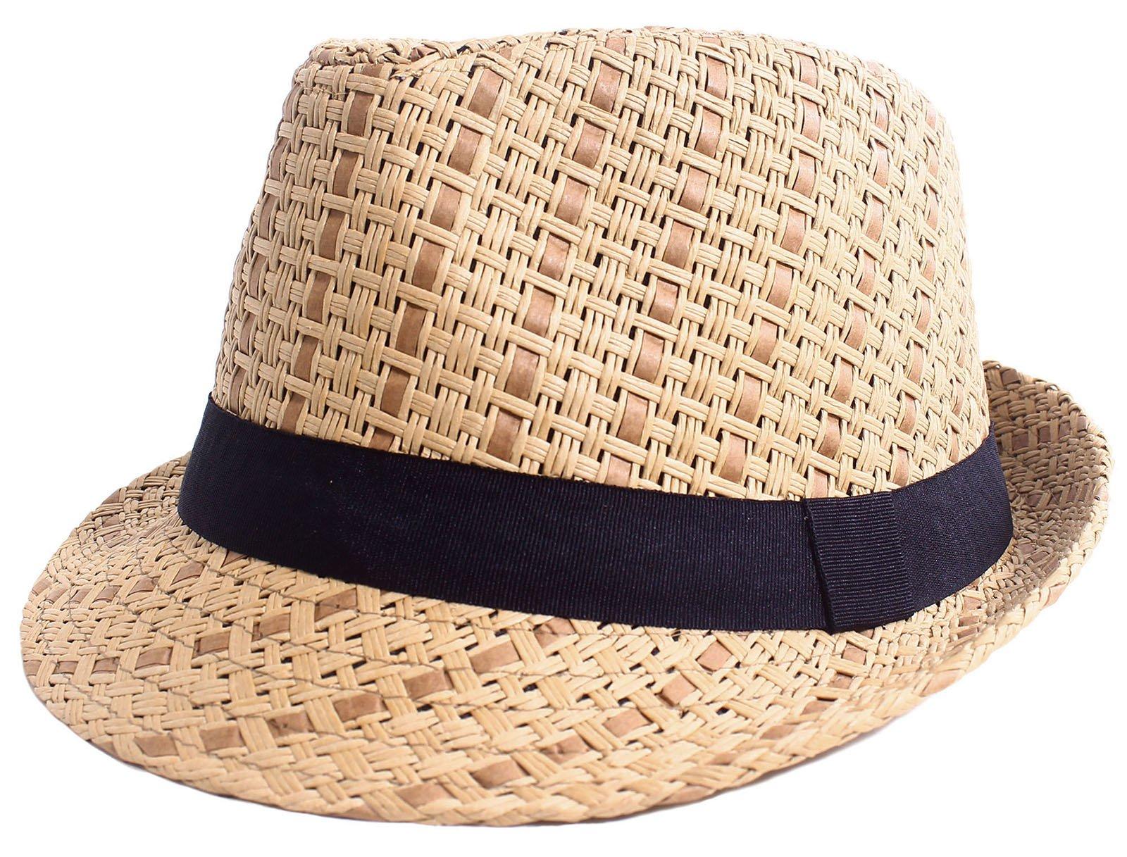 Straw Fedora Hat Men / Women's Summer Short Brim Cap with Black Band, Brown S/M