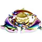 Metal Rainbow Dolphins Fidget Spinner, JUNAN fingertip Spinning tops EDC Hand Spinners Stress Reducer Toy Can Spin 3-6 Min Zinc alloy with High-Speed Bearing Fidget Finger Toys