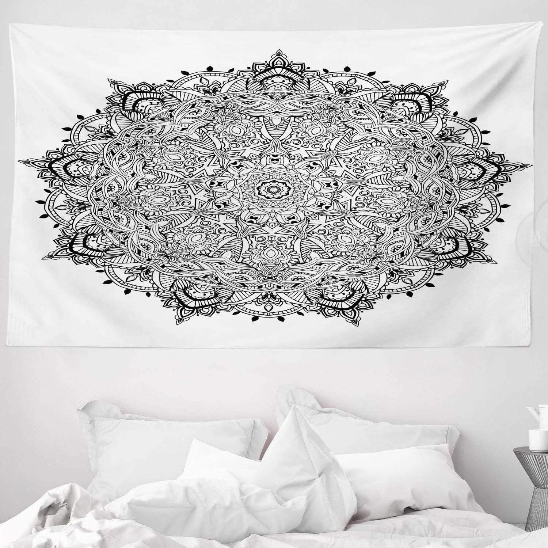Blanco Negro Mandala Arte Negro Blanco 230 x 140 cm Decoraci/ón para el Cuarto ABAKUHAUS Tela Tapiz de Pared y Cubrecama Suave