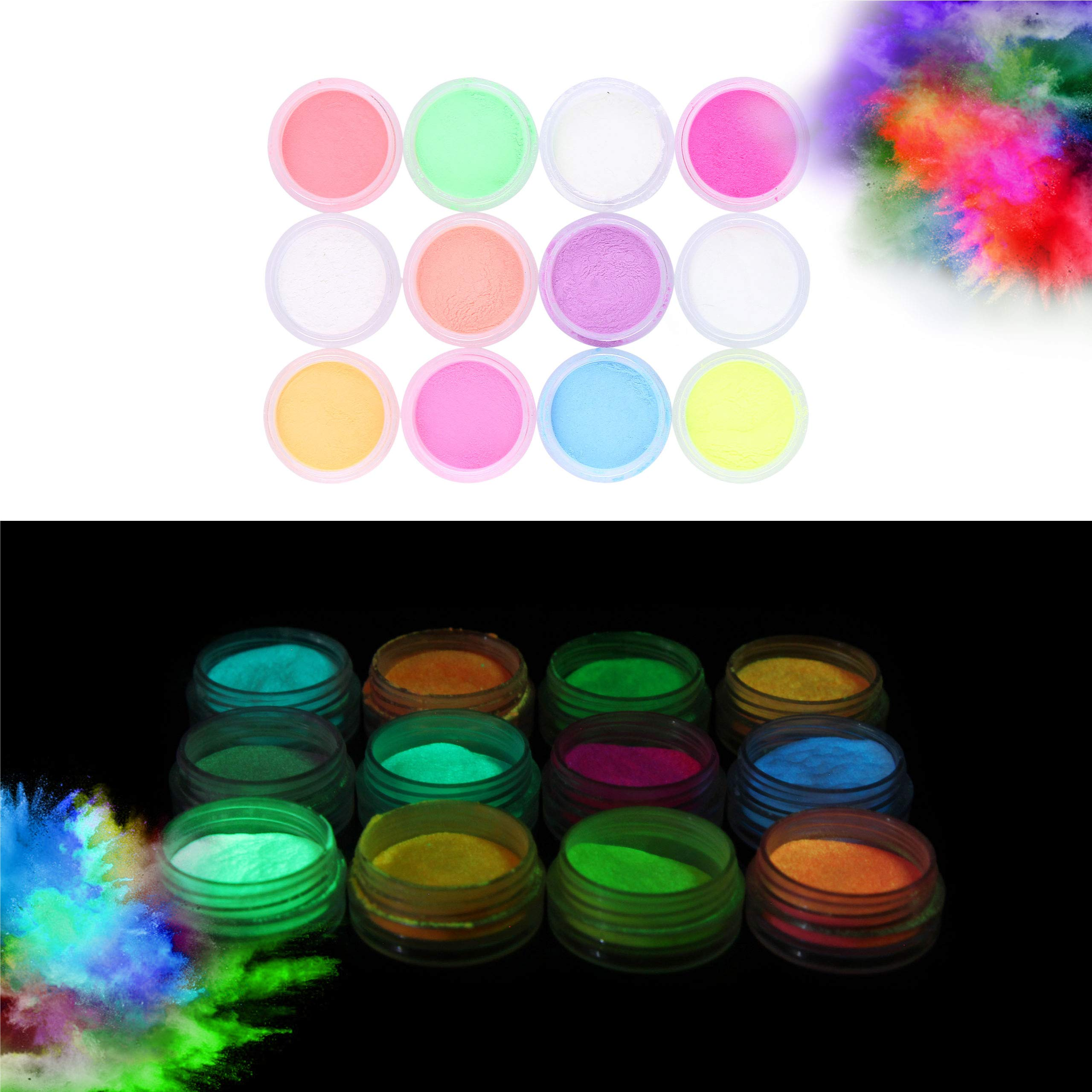 Glow in the Dark Powder -(Pack of 24) Luminous Pigment Powder Fluorescent UV Neon Color Changing luminescent Phosphorescent Thermochromic Dye Dust Glo for Slime Nails Resin Acrylic Paint Ink Non-Toxic by Lolo Crafts