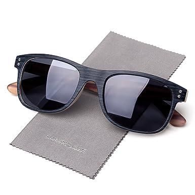 7db30d35fc1 Amazon.com  Polarized Horn Rimmed Wood Grain Decoration Sunglasses ...