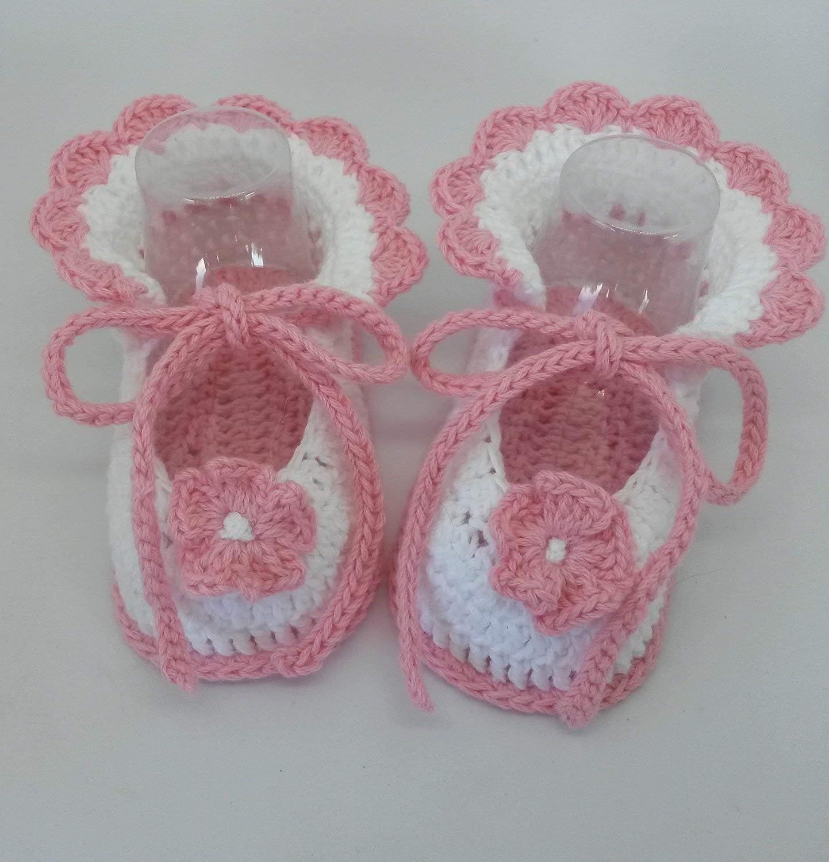 Patucos de ganchillo, hechos a mano, para bebés de 0-3 meses ...