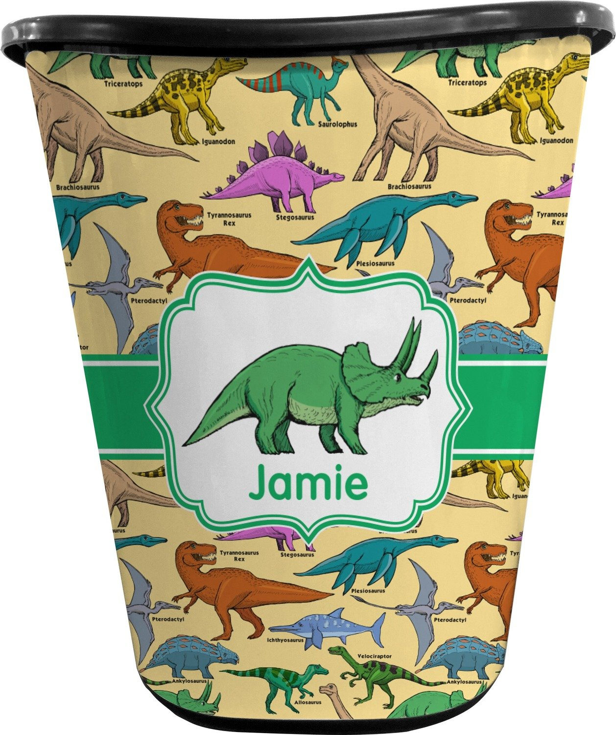 RNK Shops Dinosaurs Waste Basket - Double Sided (Black) (Personalized) by RNK Shops