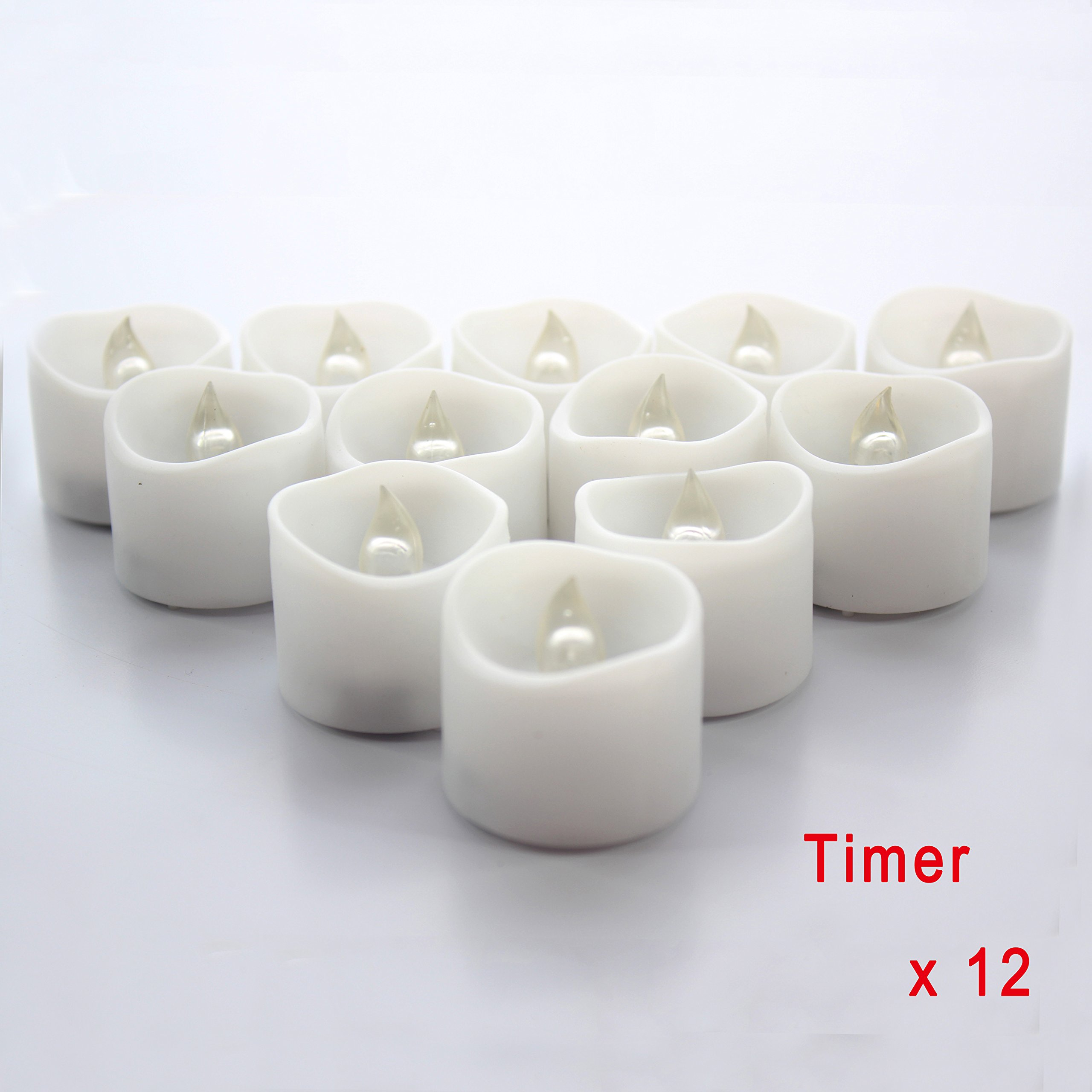 Battery LED Candles with Timer - 12 Small Flickering Flameless Tealight with Timer, 6 Hours on and 18 Hours Off, Dia. 1.3''x1.3'' Height, Electric Candles, Votive Candles, Centerpieces, Wedding Decoration, Christmas Decoration