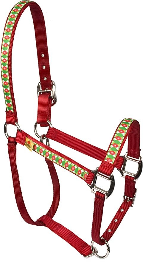 Christmas Horse Tack.Red Haute Horse Cchr1400 Mh Equine Elite Horse Halter Christmas Cheer