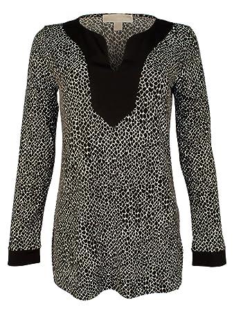 4bcb9d10f83112 Michael Kors Women s Printed Jersey Knit V-Neck Tunic Shirt at ...