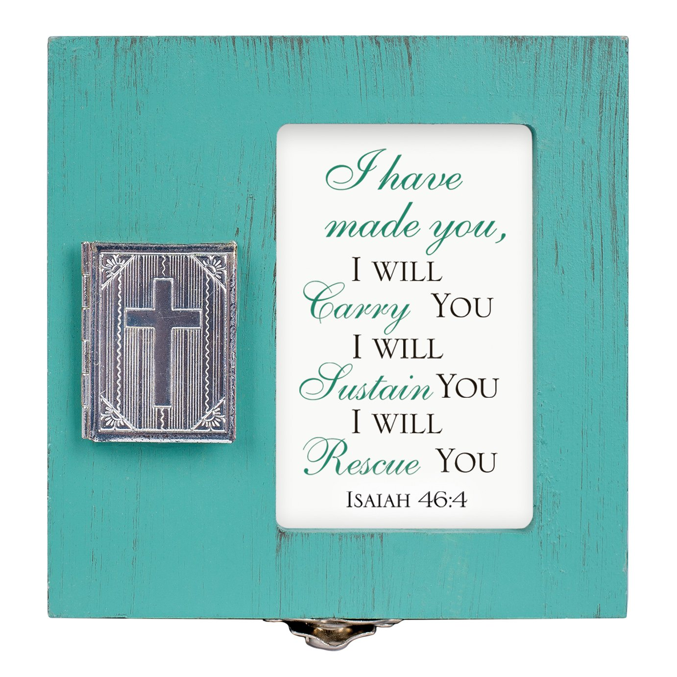Cottage Garden I Will Carry Sustain Rescue You 4.5 x 4.5 inch Distressed Coral Wood Locket Jewelry Keepsake Box