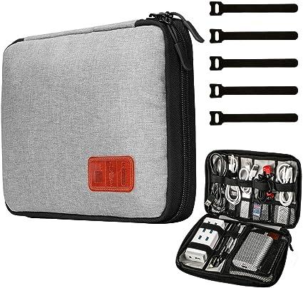 Organizador de cables, estuche de accesorios electrónicos de viaje para disco flash, unidad USB, cargador, banco de energía, tarjeta de memoria, auriculares y iPad Mini: Amazon.es: Oficina y papelería