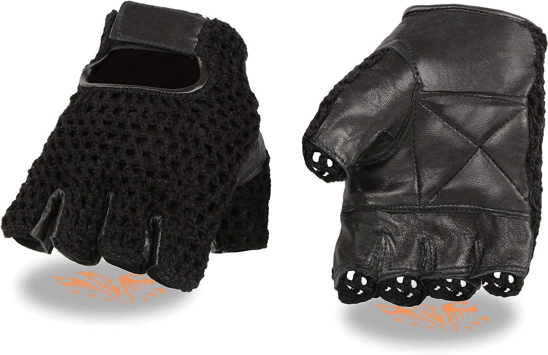 Mens Leather /& Mesh Fingerless Gloves w//Padded Palm Large