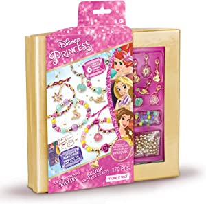Make It Real - Disney Princess Crystal Dreams Jewelry - DIY Bead & Charm Bracelet Making Kit - Includes Jewelry Making Supplies, Charms with Swarovski Crystals & Exclusive Disney Princess Book