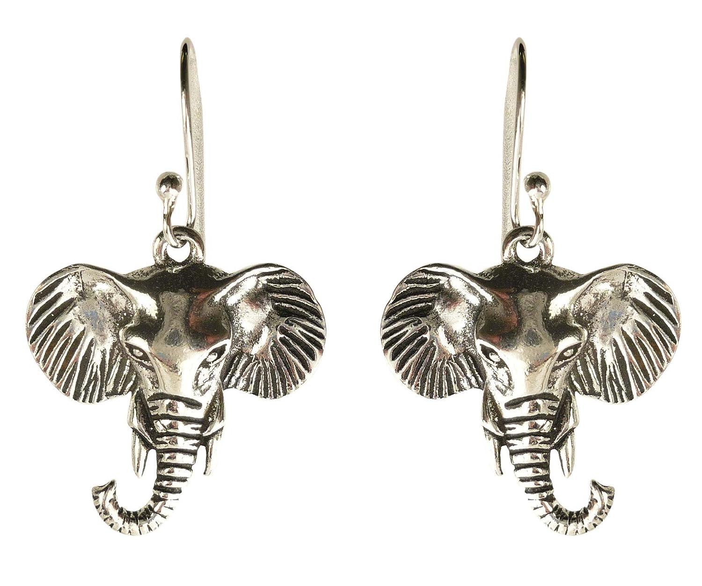 Amazon.com: Bali Sky Sterling Silver Elephant Head Drop Earrings ...