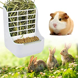 Rabbit Hay Feeder, Bunny Feeder Rabbit Guinea Pig Hay Feeder 2 in 1 Hay Food for Guinea Pig Bunny Rabbit Food Hay Feeder Small Animals Food Hay Feeder (White)