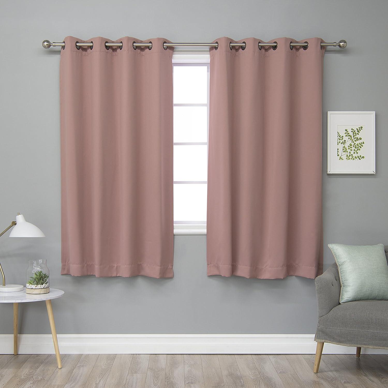 Best Home Fashion Blackout Curtain Panels - Premium Thermal Insulated Window Treatment Blackout Drapes for Bedroom - Antique Bronze Grommet Top – Mauve - 52