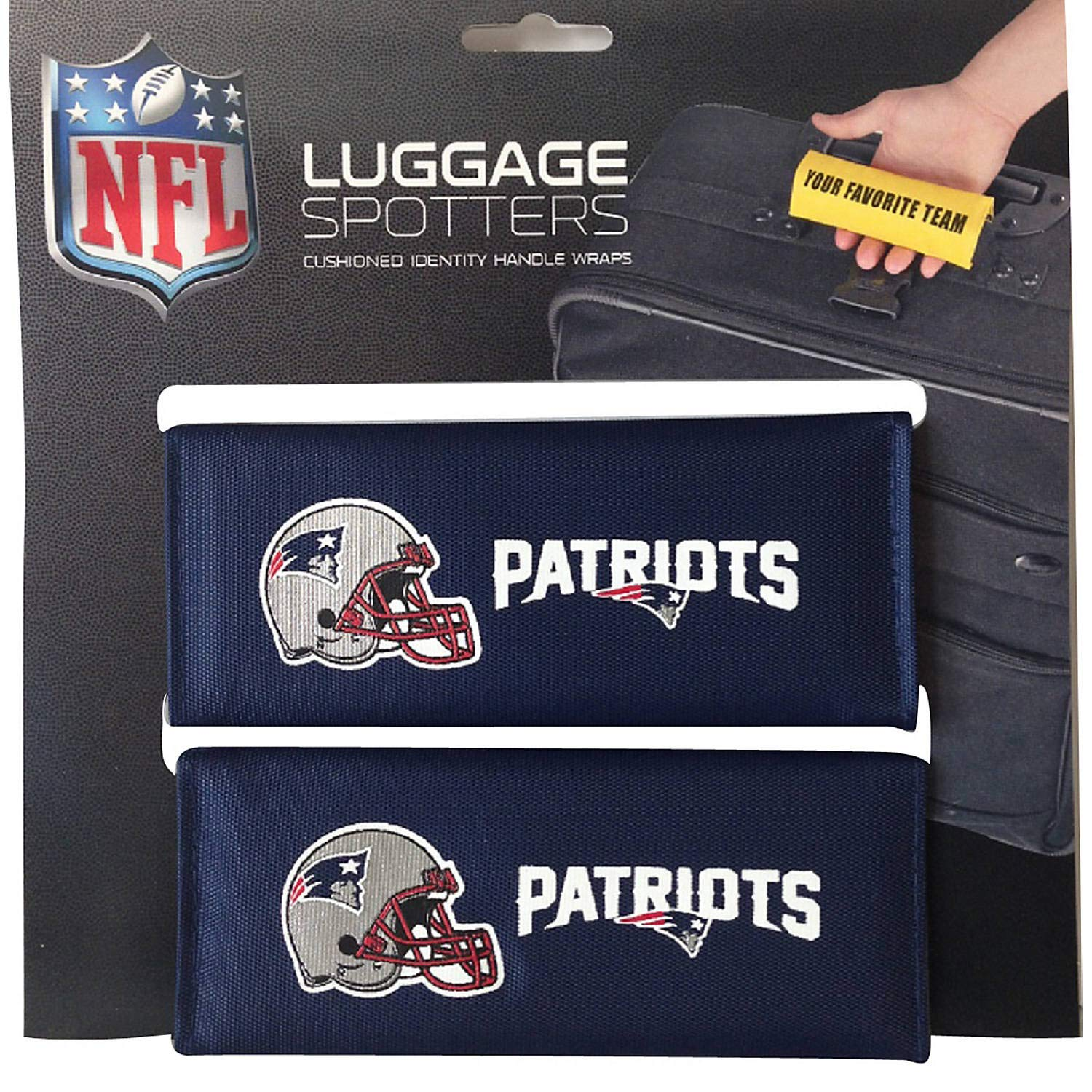 50% OFF! PATRIOTS Luggage Spotter Suitcase Handle Wrap Bag Tag Locator with I.D. Pocket (2-PACK) - CLOSEOUT! THIS IS THE LAST OF THEM! China NEPATSBLUE