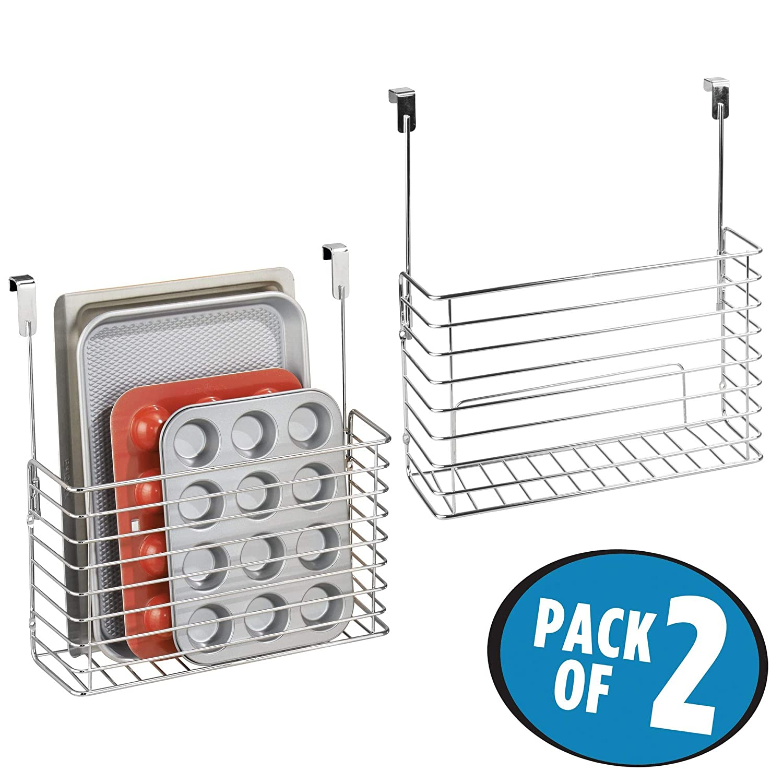 mDesign Metal Over Cabinet Kitchen Storage Organizer Holder or Basket - Hang Over Cabinet Doors in Kitchen/Pantry - Holds Bakeware, Cookbook, Cleaning ...