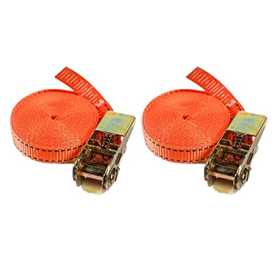 """AUTOSERVICE Ratchet Tie Down Straps 2 PK Cam Buckle Lock Straps 1"""" x 16' Up to 990 Lb Heavy Duty Cargo Lashing Straps Best for Moving Securing Straps Cargo Trucks Motorcycle ATV UTV Scooters Dirt Bike: Home Improvement"""