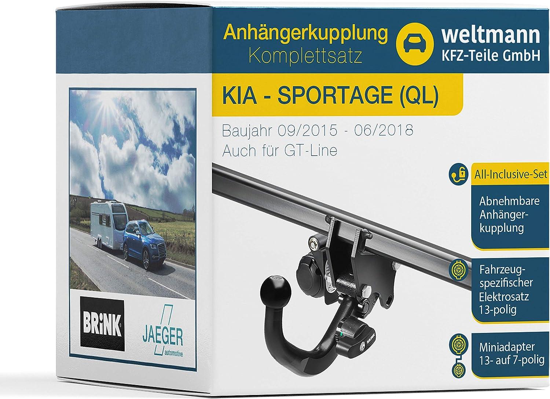 Weltmann 7d500022 Geeignet Für Sportage Ql Abnehmbare Anhängerkupplung Inkl Fahrzeugspezifischem 13 Poligen Elektrosatz Auto