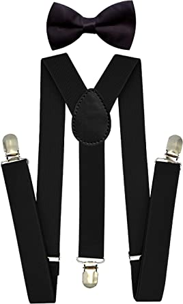 Kids Suspenders Bowtie Set Adjustable Y Back Suspender with Strong Clips Elastic Children Braces and Bow for Boys and Girls
