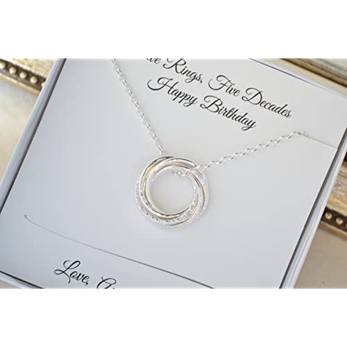 50th Birthday Gift For Mom 5 Interlocked Rings Necklace Grand