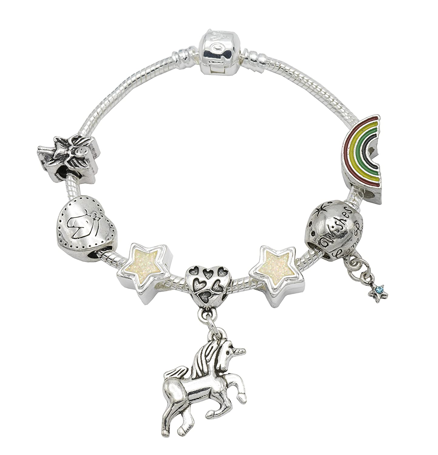 'I Believe in Unicorns' per bambini con charm con confezione regalo Girls Jewellery Hut BRUNICORN