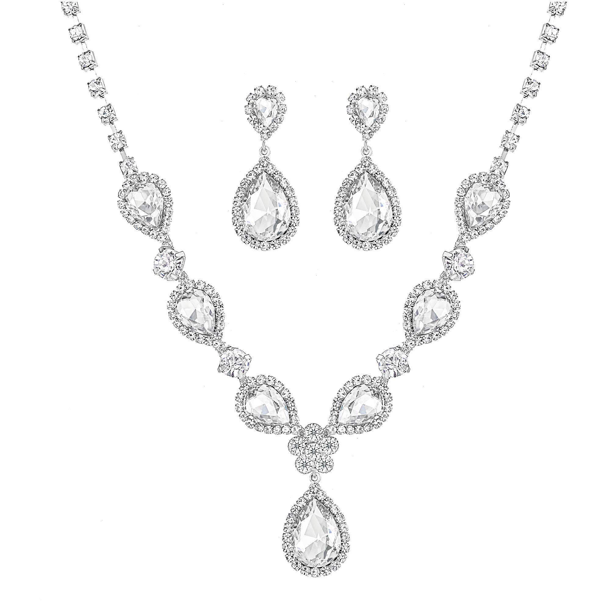 Miraculous Garden Bridal Gold Plated Teardrop Crystal Necklace Earrings Jewelry Set Gifts fit Wedding Dress