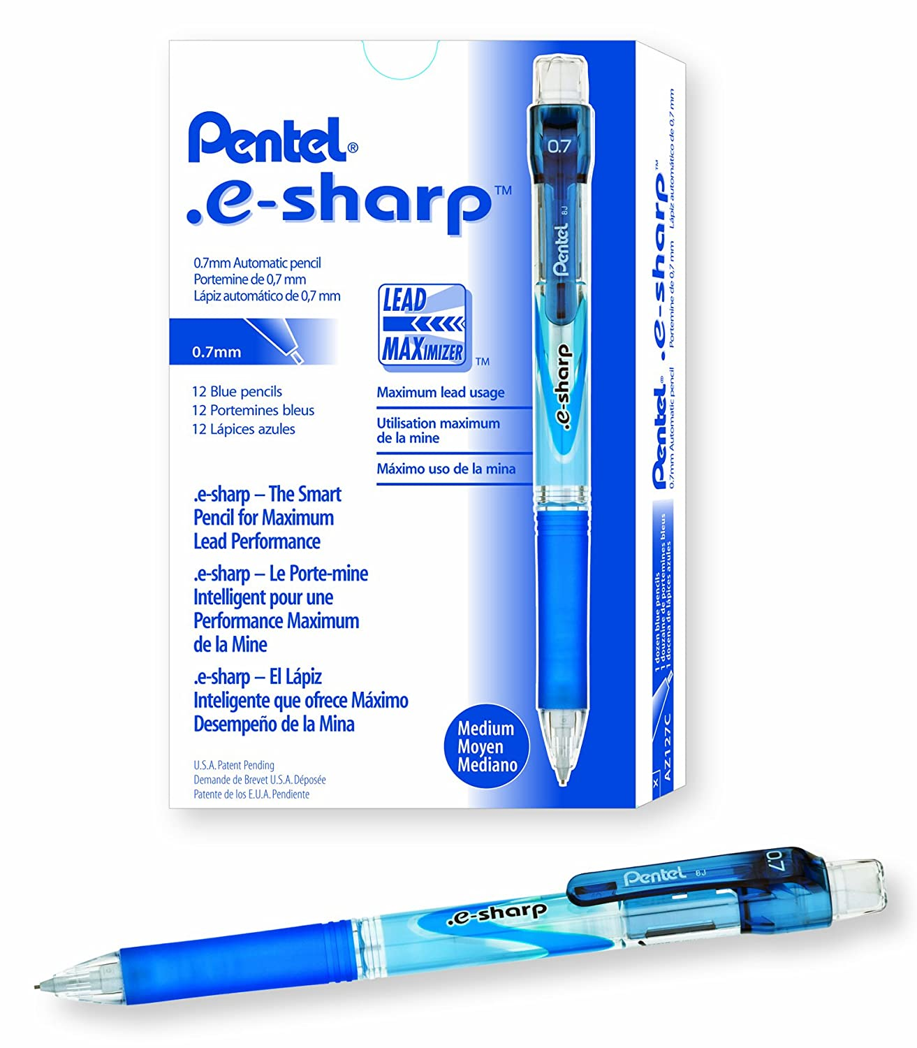 Pentel e-Sharp Mechanical Pencil, 0.50 mm, Sky Blue Barrel, 12- Count (AZ125-S) AZ125S