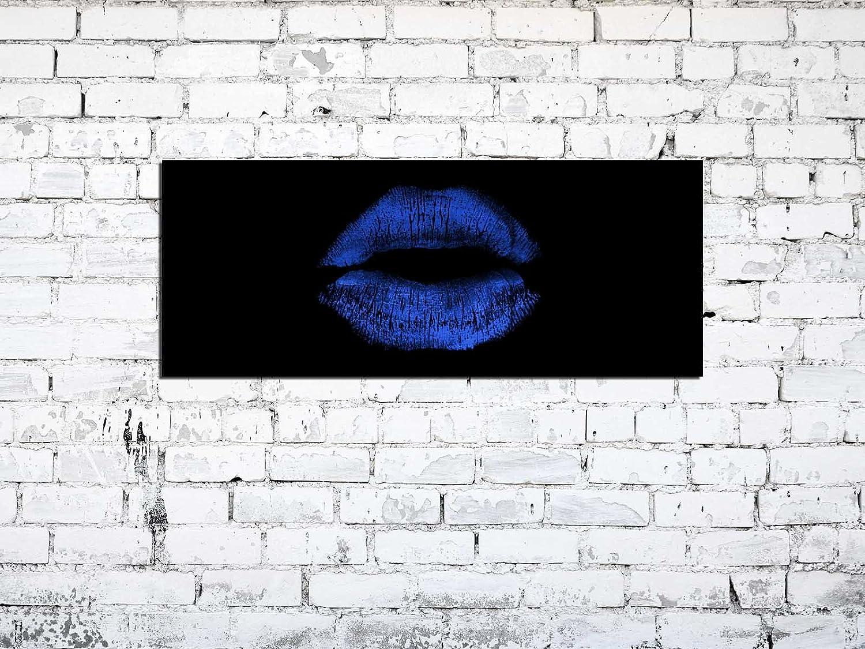 Design /& Handmade//Eyecatcher Glas Kunstdruck! Bilder Wandbild AG312502040 Lippen Kussmund Blau Schwarz 125 x 50cm // Deco Glass