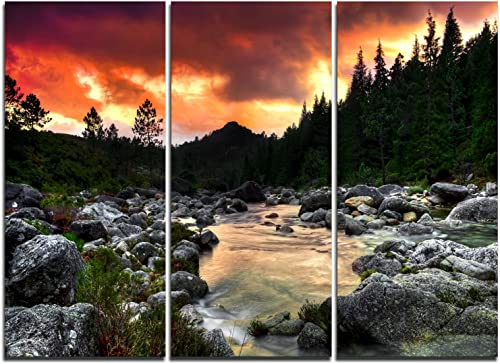 Designart Rocky Mountain River at Sunset-Extra Large Wall Art Landscape-36x28in-Multipanel 3 Piece