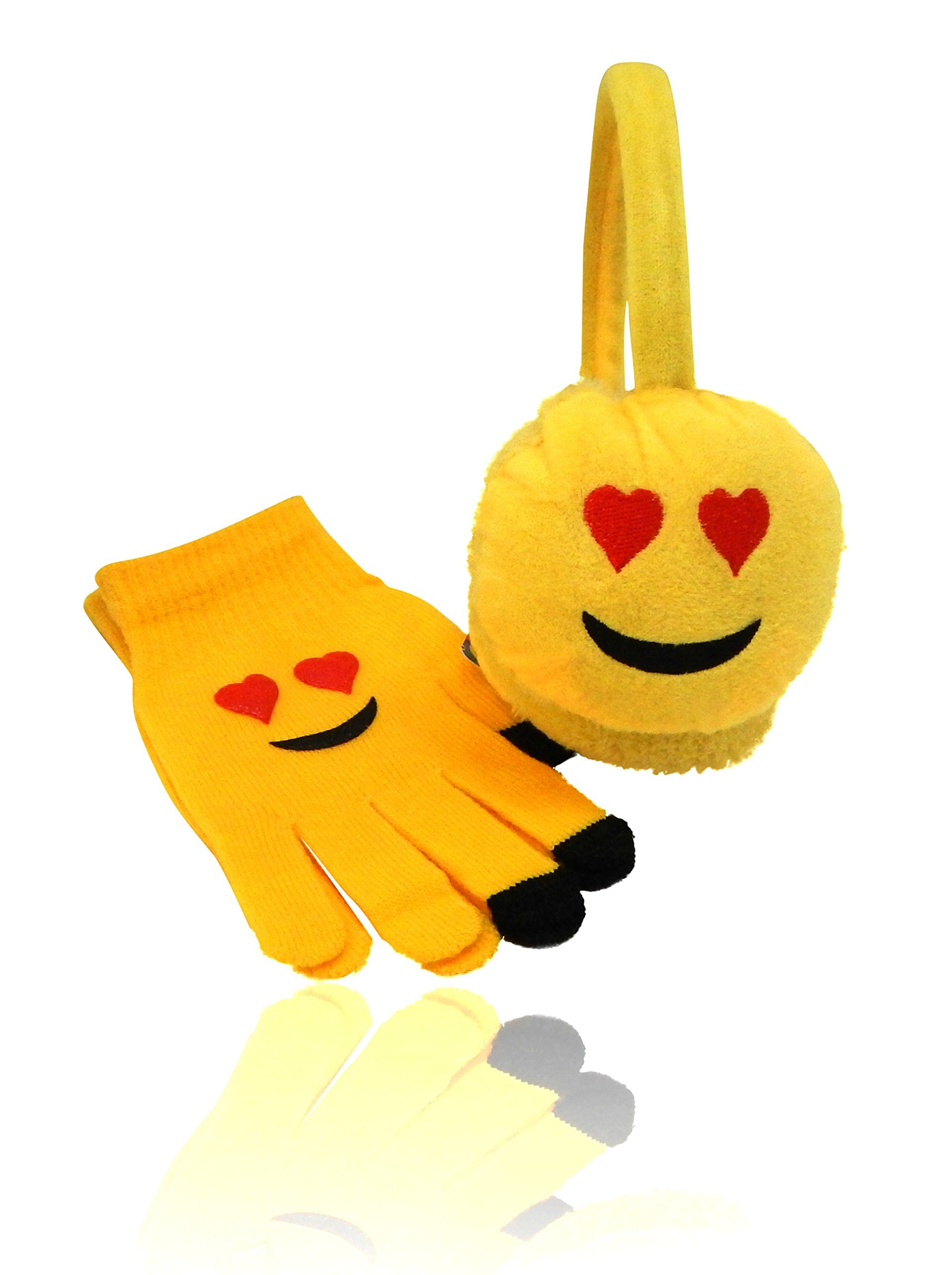 Emoji Emoticon Unisex Ear Warmers Earmuff Gloves in Sets Separately, USA CO (LOVE Heart Eyes SET)