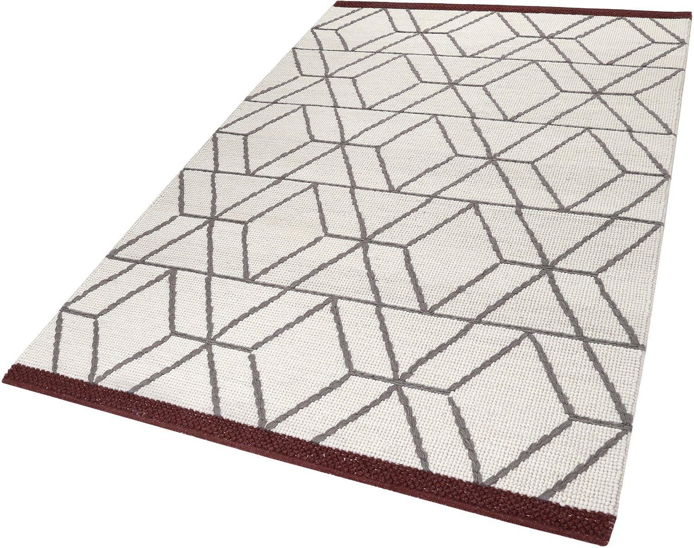 ESPRIT Hexagon Moderner Markenteppich, Schurwolle Baumwolle, Wollweiß, 230 x 160 x 0.8 cm