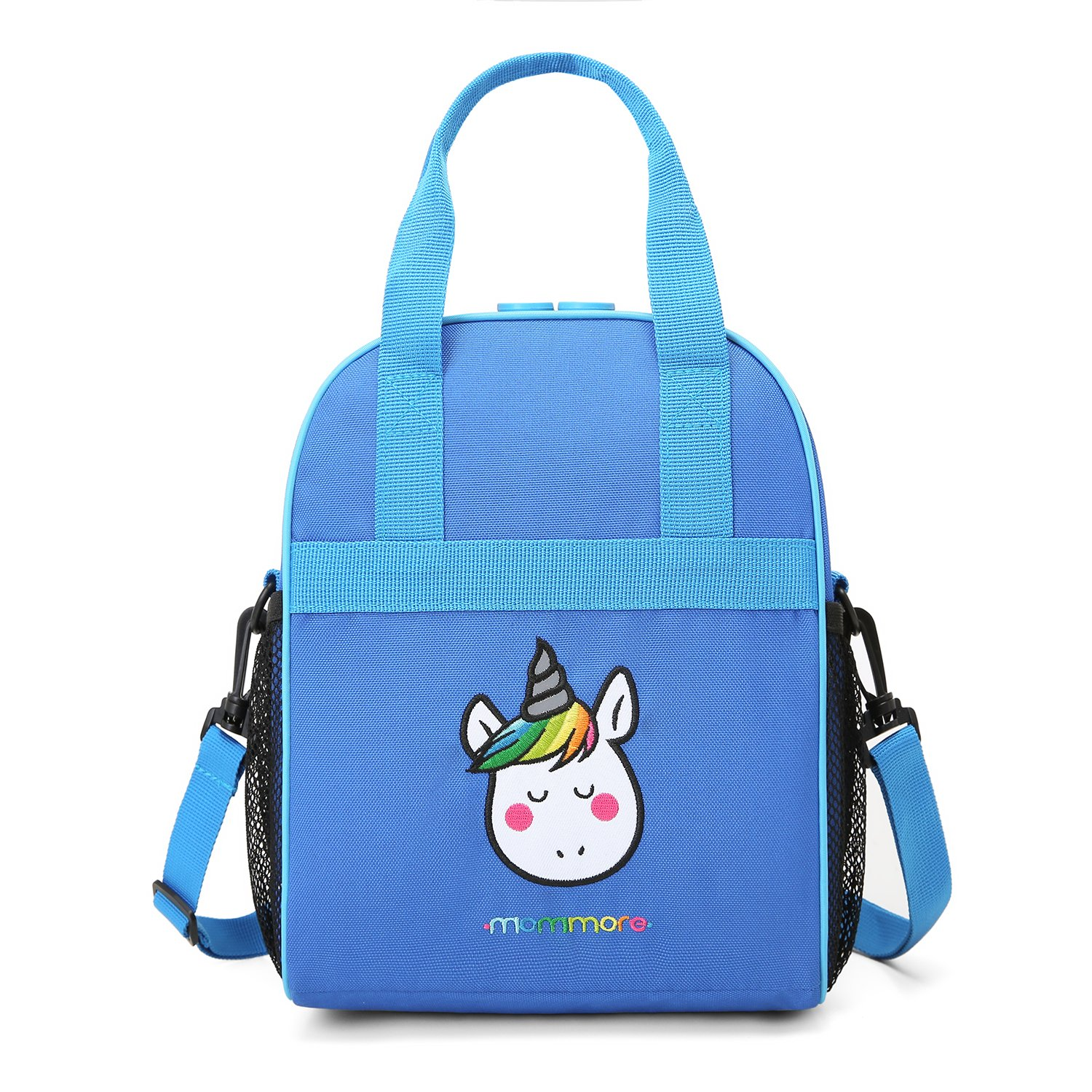 mommore Portable Unicorn Lunch Bag for Kids Insulated Lunch Tote Bag, Blue