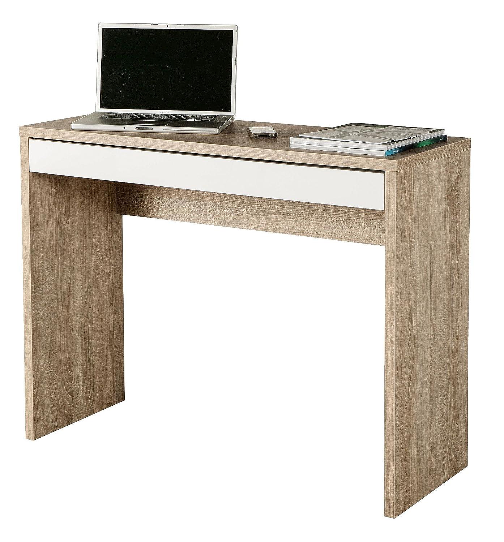 AVANTI TRENDSTORE - Casinó - Scrivania in laminato di quercia melamina e bianco lucido, dimensione: LAP: 100x80x40 cm