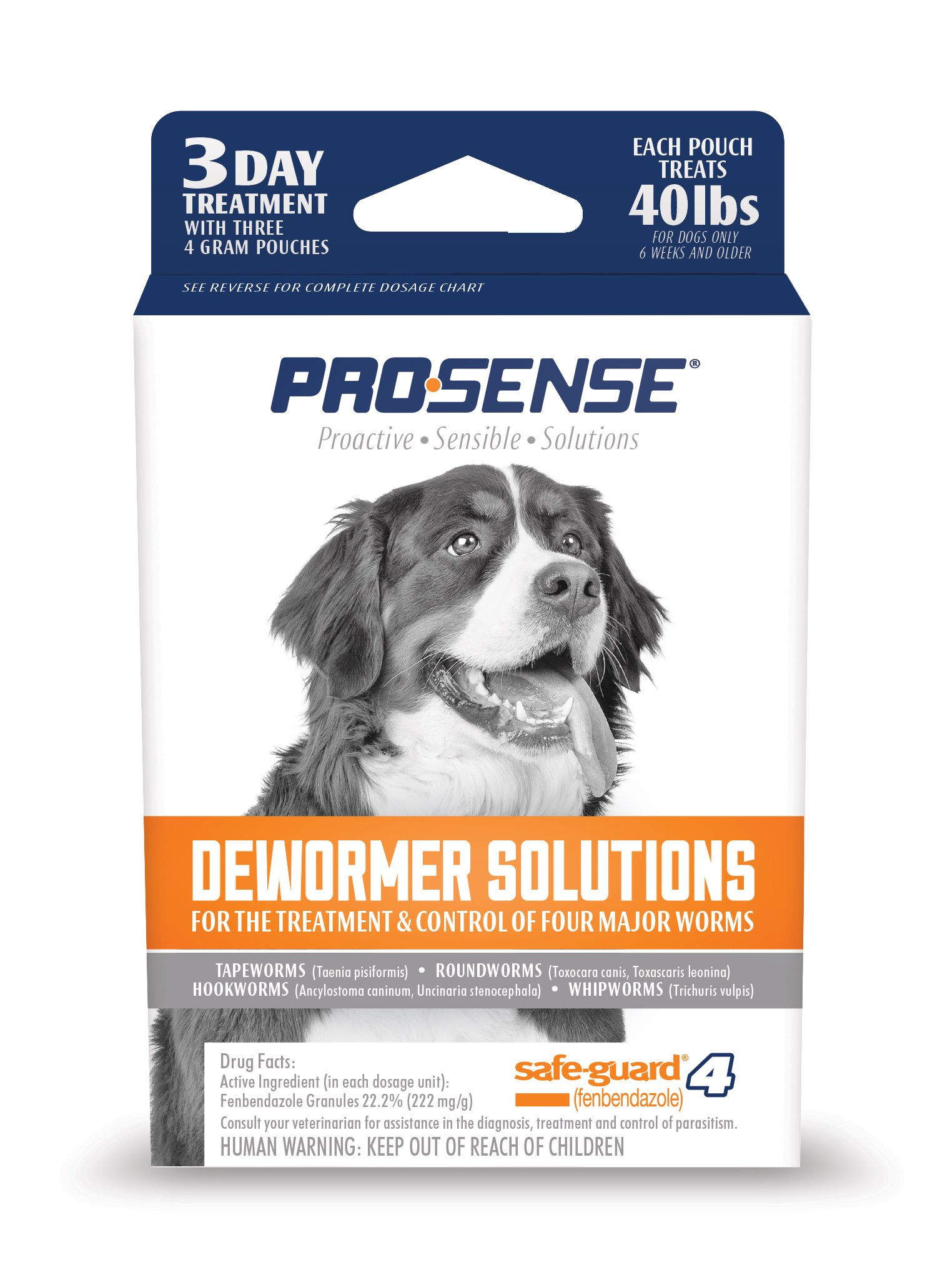 Pro-Sense Dog  Dewormer Solutions Safe-Guard 3 Day Treatment, 3 ct