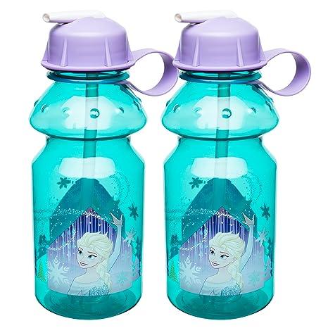 97c1c02652 Amazon.com: Zak Designs Disney Frozen 14 oz. Water Bottle with Flip Straw,  Anna & Elsa, 2 piece set: Kitchen & Dining