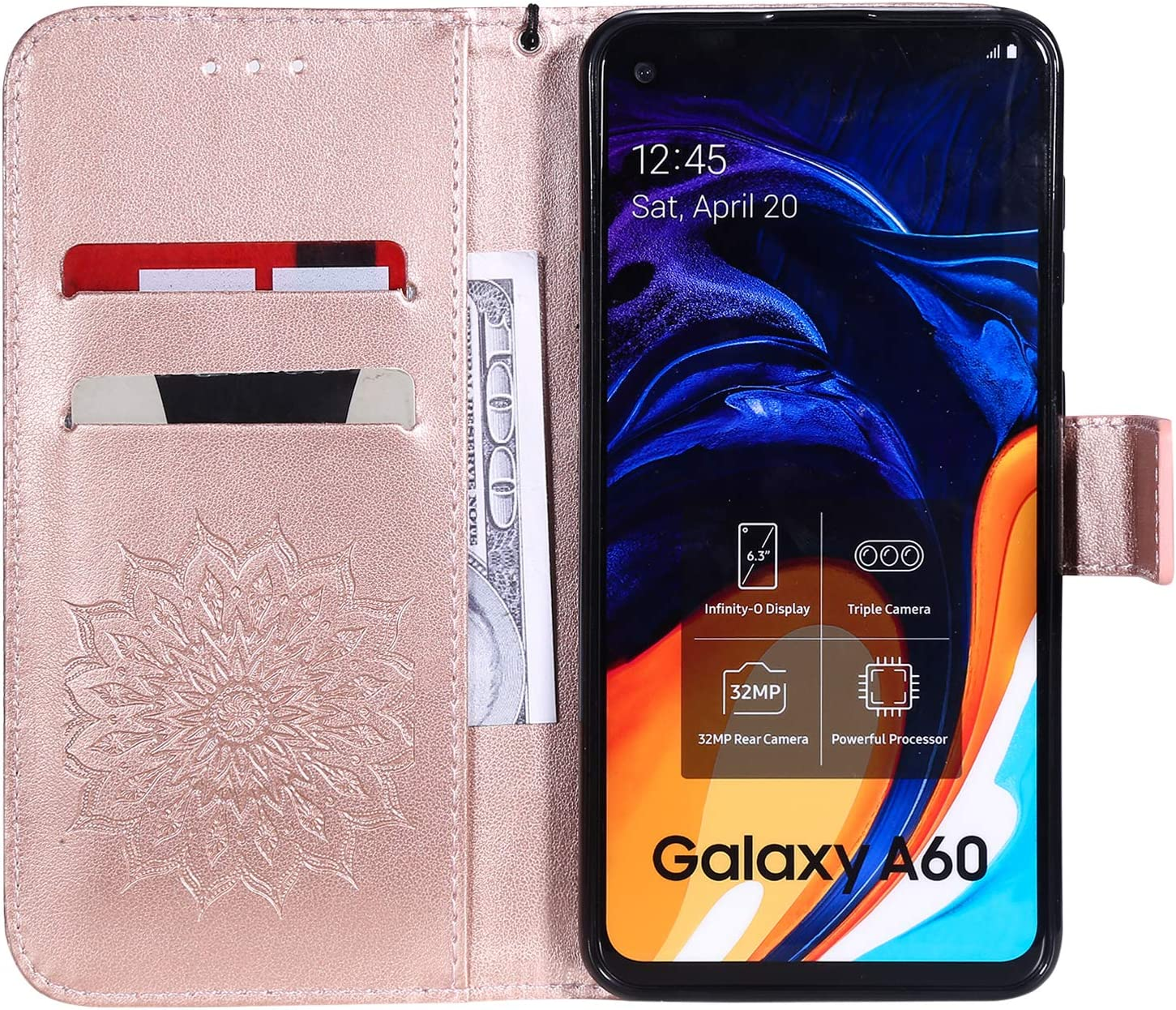 NEXCURIO Galaxy A60 Wallet Case with Card Holder Folding Kickstand Leather Case Shockproof Flip Cover for Samsung Galaxy A60 NEKTU020248 Rose Gold